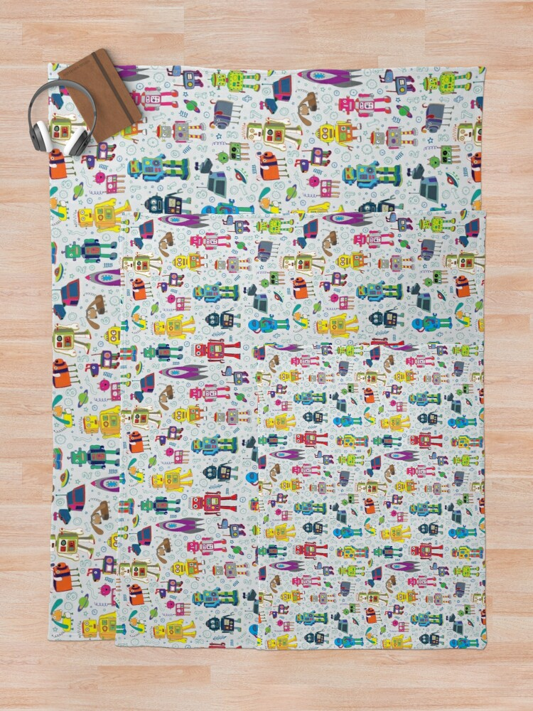 Alternate view of Robots in Space - grey - fun Robot pattern by Cecca Designs Throw Blanket