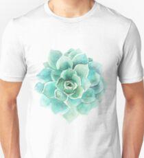 Blue-Green Succulent Watercolors Illustration Unisex T-Shirt