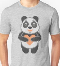Panda in style embroidery. Panda and heart. Unisex T-Shirt