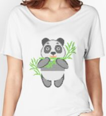 Panda in style embroidery. Panda eating bamboo. Women's Relaxed Fit T-Shirt