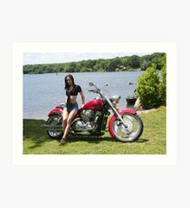 Girl with Honda Custom Cruiser Art Print