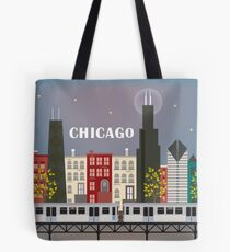 Chicago Train - Skyline Illustration by Loose Petals Tote Bag