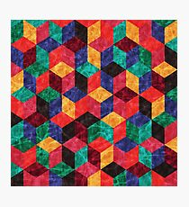 Colorful Isometric Cubes V Photographic Print