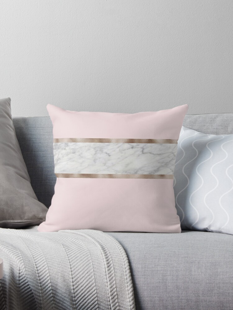 Strawberries And Cream Grey Marble Rose Gold Throw Pillows By