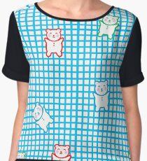Cute Teddy Bear Pattern Women's Chiffon Top