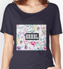 GRRRL - white floral pattern Women's Relaxed Fit T-Shirt