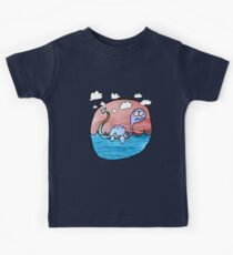a plesiosaur on an exciting journey Kids Clothes