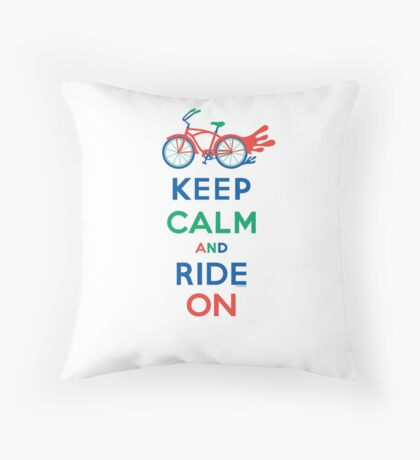 Keep Calm and Ride On - cruiser - primary colors Throw Pillow