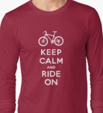 Keep Calm and Ride On mountain bike white fonts Long Sleeve T-Shirt