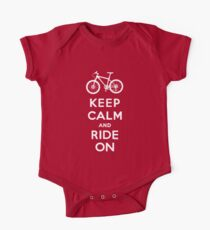 Keep Calm and Ride On mountain bike white fonts One Piece - Short Sleeve