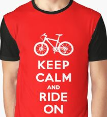 Keep Calm and Ride On mountain bike white fonts Graphic T-Shirt