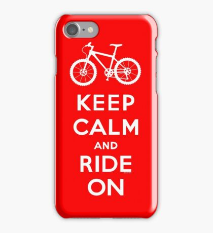 Keep Calm and Ride On mountain bike white fonts iPhone Case/Skin
