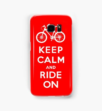Keep Calm and Ride On mountain bike white fonts Samsung Galaxy Case/Skin