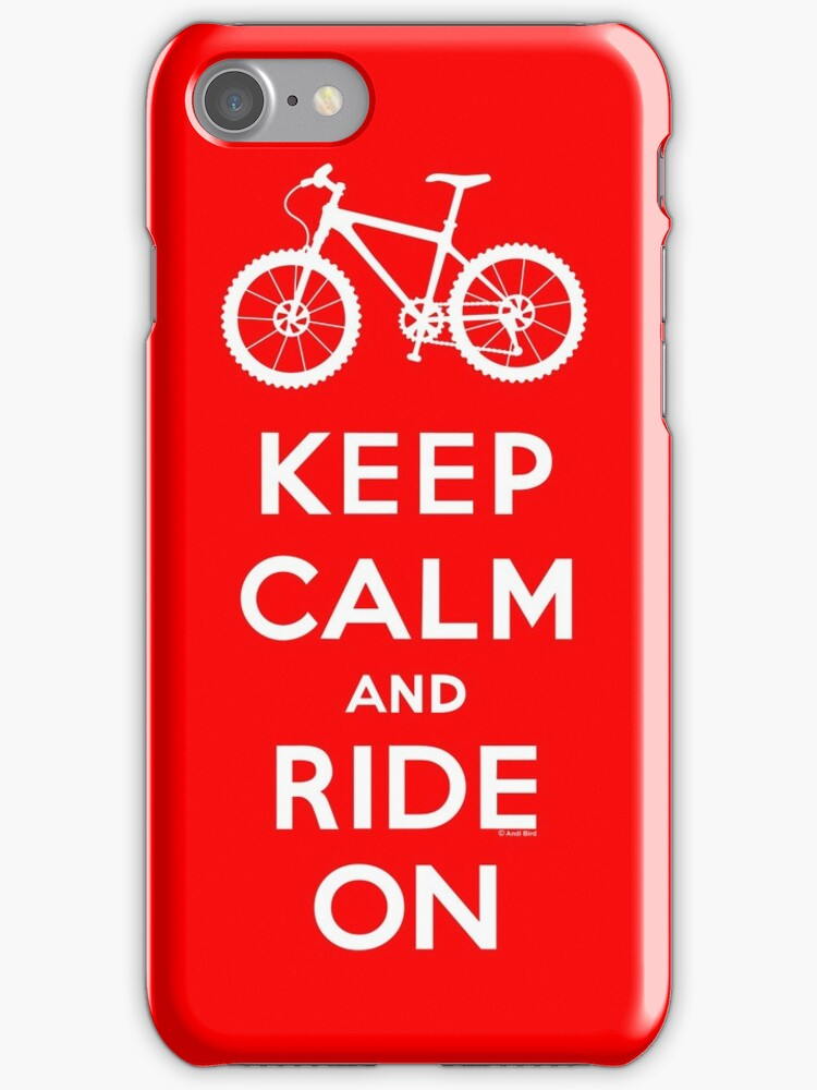 Keep Calm and Ride On mountain bike white fonts by Andi Bird