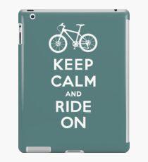 Keep Calm and Ride On mountain bike white fonts iPad Case/Skin