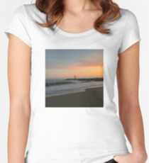 Santa Cruz Lighthouse at Sunset Women's Fitted Scoop T-Shirt