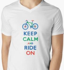 Keep Calm and Ride On - mountain bike - primary Mens V-Neck T-Shirt