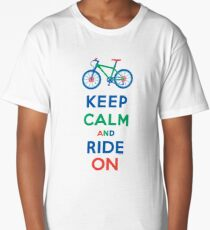 Keep Calm and Ride On - mountain bike - primary Long T-Shirt