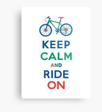 Keep Calm and Ride On - mountain bike - primary Metal Print