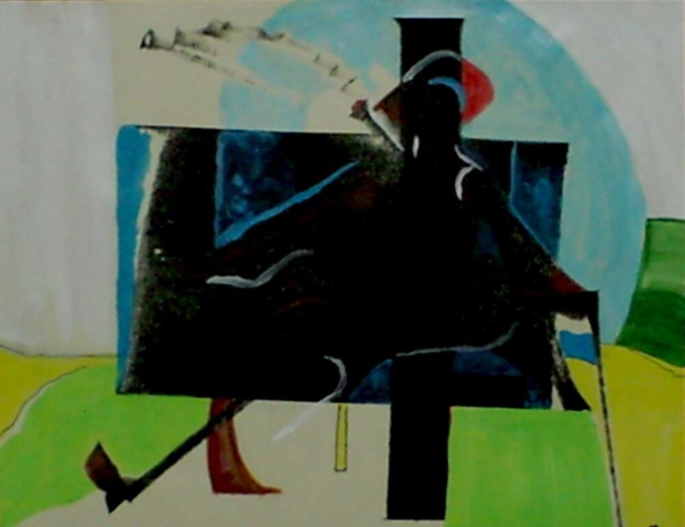 Man On Blue Bench Smoking (Monoprint)- by Robert Dye