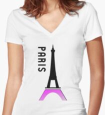 france paris eiffel tower Women's Fitted V-Neck T-Shirt