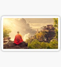 zen buddhist meditation valley temple Sticker