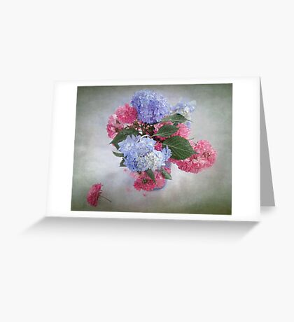 Endless Summer Hydrangeas and Roses Still Life Greeting Card