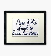 Stoop kid's afraid to leave his stoop. Framed Print