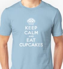 Keep Calm and Eat Cupcakes - white type Unisex T-Shirt