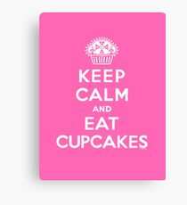 Keep Calm and Eat Cupcakes - white type Canvas Print