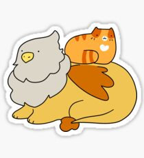 Griffin and Orange Tabby Cat Sticker