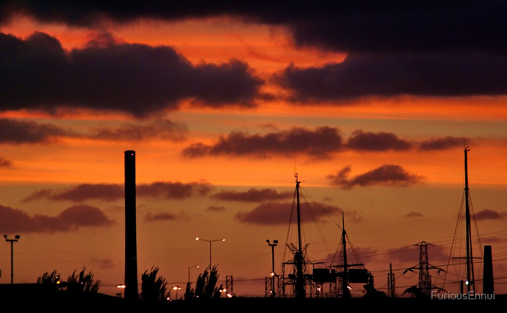 Industrial Dockland Sunset by FuriousEnnui