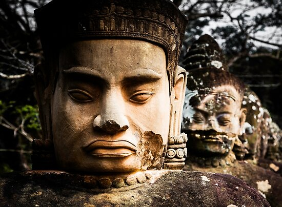 Buddhist Statues: Deva at Angkor, Cambodia by Wax Museum Media