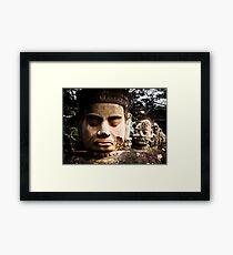 Buddhist Statues: Deva at Angkor, Cambodia Framed Print