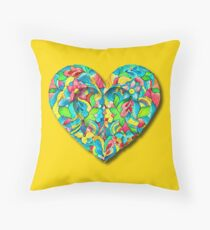 Artistic 3D Floral Heart  Throw Pillow