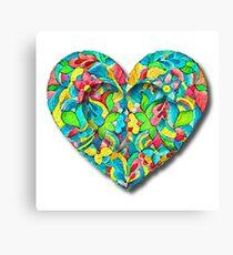 Artistic 3D Floral Heart  Canvas Print