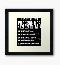 10 Reasons To Date A Programmer T-Shirt Framed Print