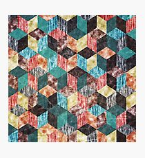 Colorful Isometric Cubes VI Photographic Print