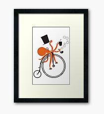 Octopus on a Penny Farthing Framed Print