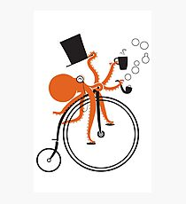 Octopus on a Penny Farthing Photographic Print