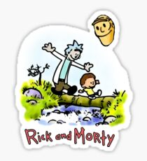 Rick and Morty Calvin and Hobbes Sticker