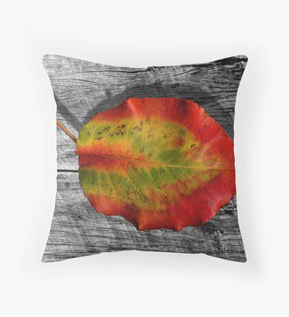 Leaf on Barnwood Throw Pillow