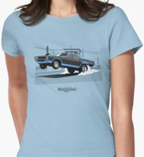 Dodge Challenger dragster (black/blue) Womens Fitted T-Shirt