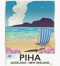 Piha New Zealand vintage travel poster Poster