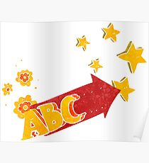 retro cartoon ABC symbol Poster