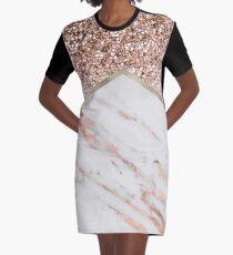 Schimmerndes Roségold mit roségoldenem Marmor T-Shirt Kleid
