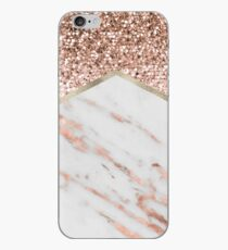 Shimmering rose gold with rose gold marble iPhone Case
