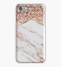 Shimmering rose gold with rose gold marble iPhone Case/Skin