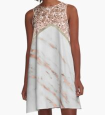 Shimmering rose gold with rose gold marble A-Line Dress