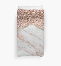 Shimmering rose gold with rose gold marble Duvet Cover